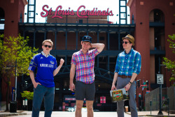 THE MIDWESTYLE UNITED: Seth, Cam and Jeff reppin' our Kansas City roots in front of Busch Stadium. St. Louis, Missouri (jdonaldson)