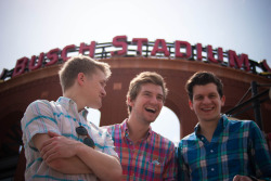 THE MIDWESTYLE UNITED: Seth, Cam and Jeff in front of Busch Stadium. St. Louis, Missouri (jdonaldson)