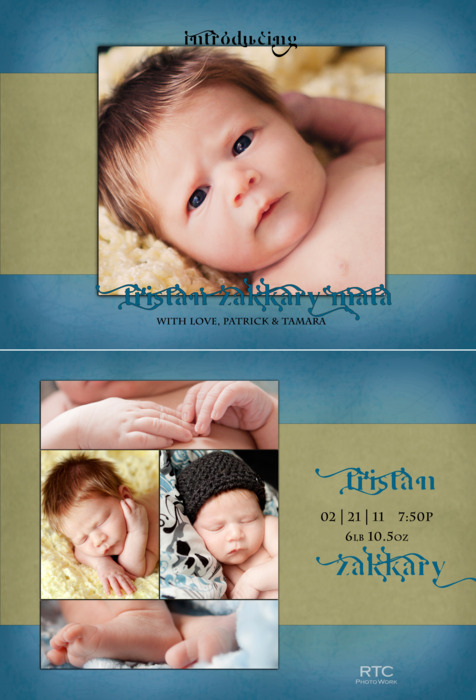 RTC PhotoWork Tristan Birth Announcement