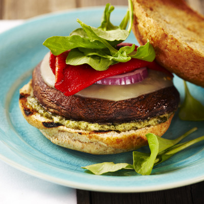 Grilled Portobello Burger with Pesto Mayo