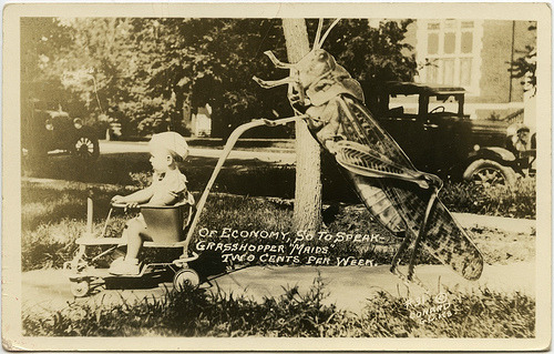 Date unknown Grasshopper maid postcard. (via Crafty Dogma)
