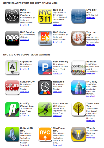Today NYC government launched our NYC Apps hub - download the City's official smartphone apps, and winners of the NYC Big Apps competition.  UpNext is on the list.  Check out all these app to really enjoy NYC.