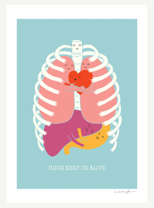 I really want this print on my office wall! happythings:  52hearts: Hugs Keep Us Alive Print by ilovedoodle