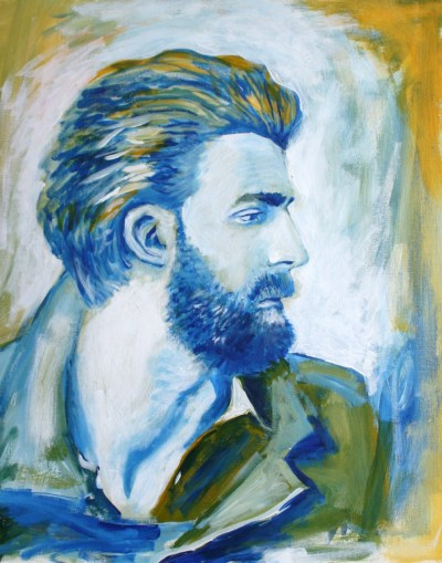 """Portrait of Calle Strand"" acrylic on canvas, May 2011. A little story: I had some paint left over from another painting and wanted to paint an abstract, maybe cartoon-ish, bearded man. I decided I should look at some images of bearded men. I ended up following a photo of model, Calle Strand (below). I don't know who the photographer is or what magazine the photo is for.  I've got more portraits planned! Stay tuned!"
