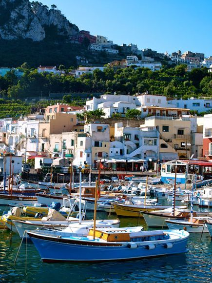 Capri, Italy Life is centered on the water in Capri, an Italian island in the Tyrrhenian Sea. A popular vacation spot for Italians, the island boasts a classic Mediterranean landscape and is an easy day-trip from Naples and Sorrento.
