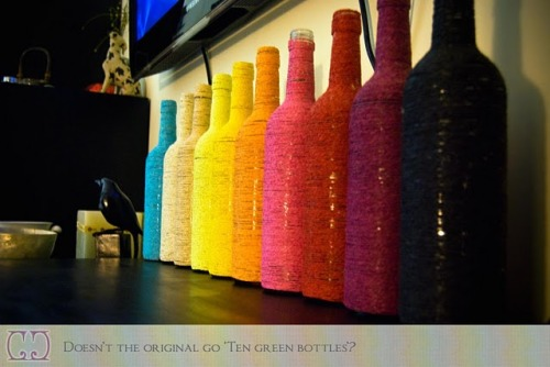 This is such a great re-use of your wine bottles for decor. I used to be obsessed about saving my wine bottles. Now I have an excuse to start again. We have a couple of awkward shelves in our apartment that these would look really nice on. via craveorcreate