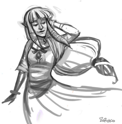 zorobro:  Quick doodle of the new Zelda from Skyward Sword~