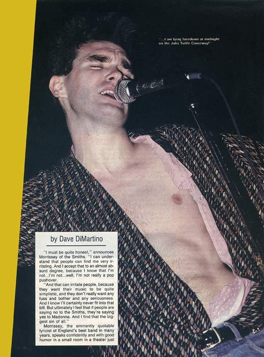 """We'll meat again: doing it Smiths style"". Interview & photos of The Smiths in Creem magazine-02/1986Photos: Paul Natkin & Leslie Fratkin-Interview: Dave DiMartinoYou can read the interview clicking on this pictureScanned from my personal archivePage 02"