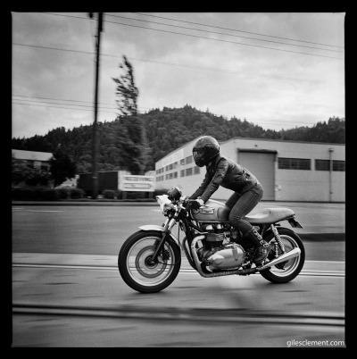 Me, MotoLady on a custom 2005 Triumph Thruxton 900. Photo by Giles Clement. Check back for more photos from this series. :)