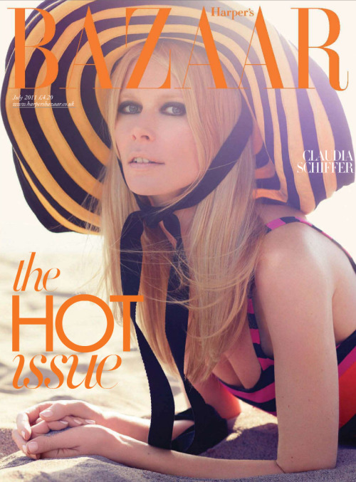 Claudia Schiffer covers Harper's Bazaar UK July 2011 wearing Prada Clauder Schiffer was every girl's favourite supermodel in the 90s, and one of the original supermodels.  It's great to see her with a magazine cover comeback for Harpers Bazaar UK July 2011, what is estimated to be her 350th magazine cover appearance. Doing what she does best with the vintage sex kitten Brigitte Bardot look, she's wearing heavy eye makeup and the color block Prada hat & dress from the Spring Summer 2011 collection. Stay tuned for the complete fashion shoot of Claudia Schiffer in Harper's Bazaar July 2011 at rare.li
