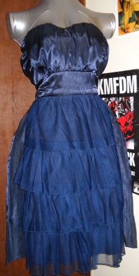Blue Belle of the Ball dress description:  I promise, the blue tulle looks the EXACT same color as the satiny fabric, which is a rich navy blue. My camera wasn't very helpful depicting this. Fluffy, foofy layered skirt, ties in the back adorably (for adjustment or decoration) with a bow. The part that hugs your bust is padded. Just over-the-knee length.    size: 13/XL brand: Charlotte Russe materials: 100% polyester condition: used once6$