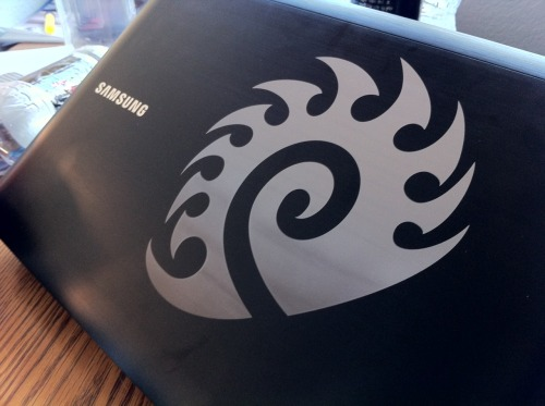 Testing the laser machine, I engraved the Starcraft Zerg's emblem (a preview of one of my other product ideas!) on my brother's laptop. There's a noticeable gradient on on the image that I've seen on other engraved laptops. I've determined the problem to be the slight incline of the laptop cover. This incline made the surface closer to the laser, putting the laser out of focus, and causing a burn on the surface. Next time I'll use a level to fix that problem.