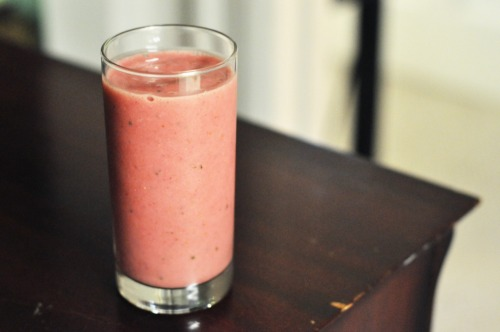 hipsterfood:  kewl smoothie i know we've been making a lot of drink posts lately, but it's just too hot to cook, or do anything else, really. plus, this one is really great for extra-hot days! blend until smoothie consistency: 3-4 cups (or handfuls) frozen strawberries 2 cups watermelon, melon-balled (we soaked these in triple sec, if you're into alcoholic drinks) 1 cup cucumber 1 cup almond milk, or just enough to keep the blade spinning (and more triple sec, for good measure)