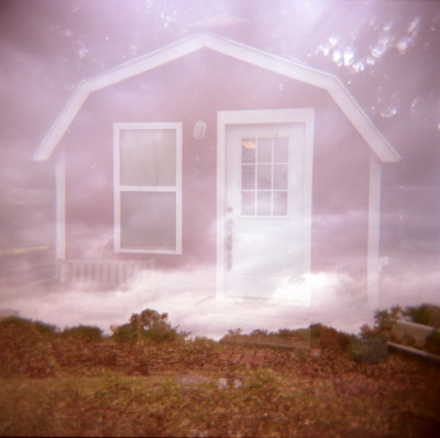 Red barn, double exposure