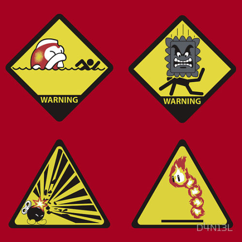 Warning signs for Mushroom Kingdom adventures. Gulp, Crush, Boom, Burn by D4N13L