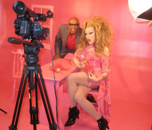 "chi chi larue and rupaul on the set of ""jealous of my boogie."""