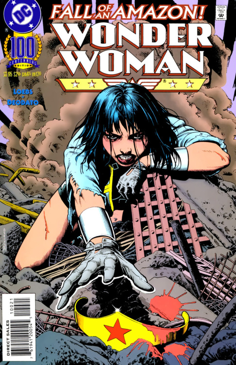Brian Bolland's newsstand variant cover for Wonder Woman #100 (1995).