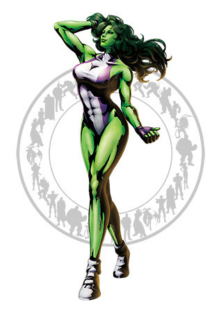 She-Hulk When Jennifer Walters received a blood transfusion from her cousin Bruce Banner, she gained the power to become She-Hulk. We all know that female counterparts of heroes or villains are always cooler (and hotter). But with Hulk and She-Hulk? Worlds apart. She makes Hulk look like a giant broccoli that just happens to look human.