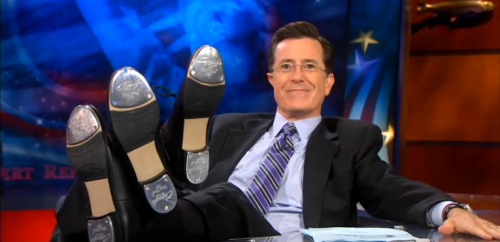 Tomorrow's going to be fun, Internet. Guest: Stephen Colbert. Background: Jon Stewart. Stephen Sondheim.