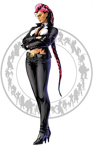 C. Viper This worldly 30 year old fighter is a CIA agent. She is also a single mother and her daughter, Lauren, is on her mind at all times. I've played Street Fighter but I've never been that much familiar with her. Let me give some additional info 'cause I don't think you'll get anything from the above description (thanks a lot, MVC3). She's Crimson Viper. She wears a Battle Suit equipped weapons and goodies. The suit is remarkablr in the sense that it resembles an ordinary business suit (a showing cleavage with a tie in between is ordinary it seems).  The gloves have metal knuckles that can be electrically charged, creating visual arcs of electricity when enough power is supplied; these can stun or damage an opponent quite heavily at higher settings, which combined with Viper's natural speed and agility pose an incredible danger to fighters of all skill and size. The boots hold jets inside the arc between the heel and sole, with a switch on the side of the boot activating the temporary jet propulsion. The boots are capable of granting the wearer a much greater jumping ability, though Viper frequently fires them up and uses them in a defensive kick, burning anyone within distance.