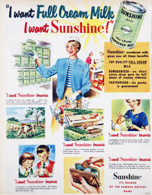 I want full cream milk - I want Sunshine! 1955