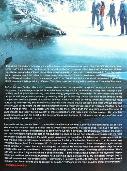 Christopher Nolan's liner notes for the Inception soundtrack. That man has such a way with words.