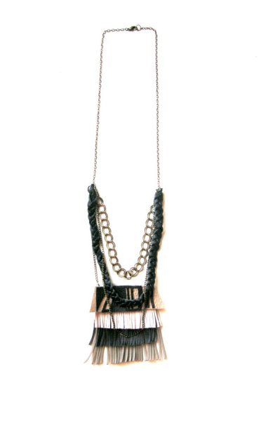 """Leather Fringe"" Necklace by BooandBooFactory"