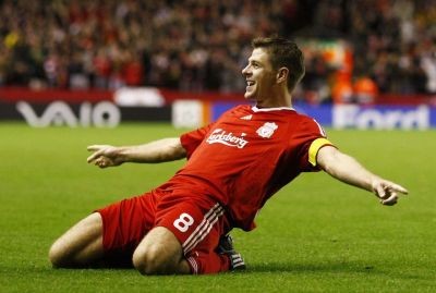 Typical Steven Gerrard celebration