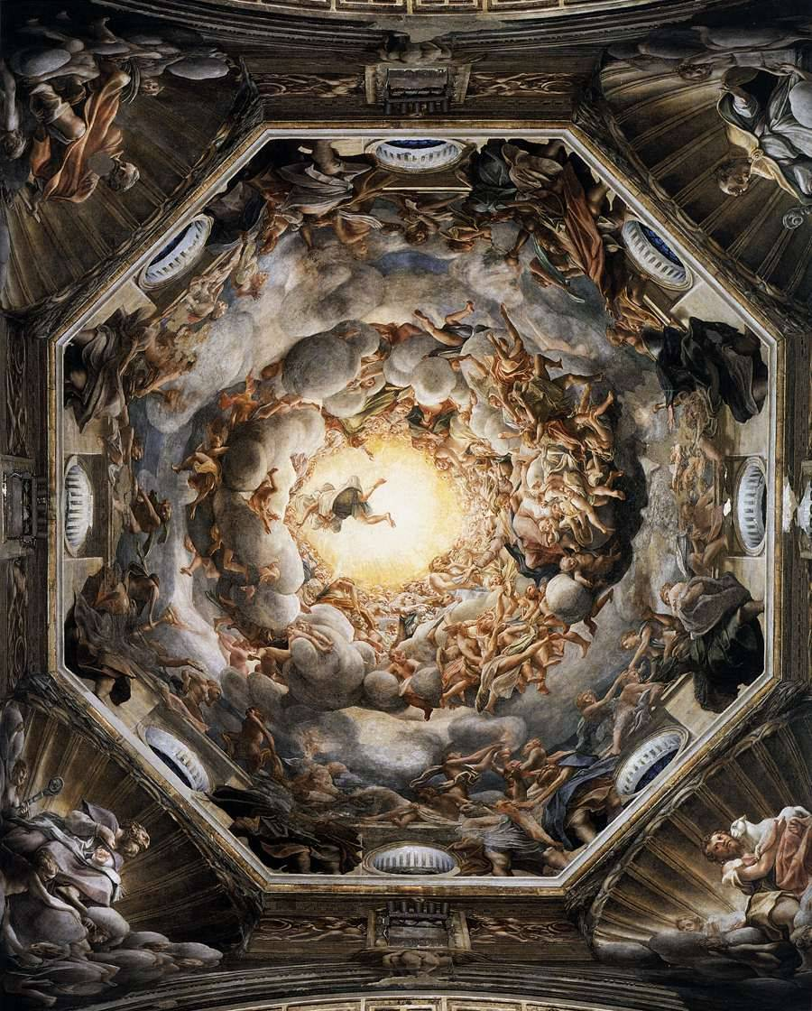 Assumption of the Virgin (1526-30) by Correggio Fresco, 1093x1195 cm. Duomo, Parma. This fresco (a painting in plaster with water-soluble pigments) anticipates the Baroque style of dramatically illusionistic ceiling painting. The entire architectural surface is treated as a single pictorial unit of vast proportions, equating the dome of the church with the vault of heaven. The realistic way the figures in the clouds seem to protrude into the spectators' space is an audacious and astounding use for the time of foreshortening.  (via Web Gallery of Art, image collection, virtual museum, searchable database of European fine arts (1000-1850))