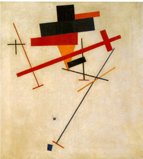 "klg19:  Kazimir Malevich, Suprematist Painting, 1915-16 ""Kazimir Malevich was the first great artist to make art look like something your kid could do—if your kid had thought of doing it in war-isolated Moscow, in 1915, and was a genius.""— Peter Schjeldahl in The New Yorker, 3/14/2011"