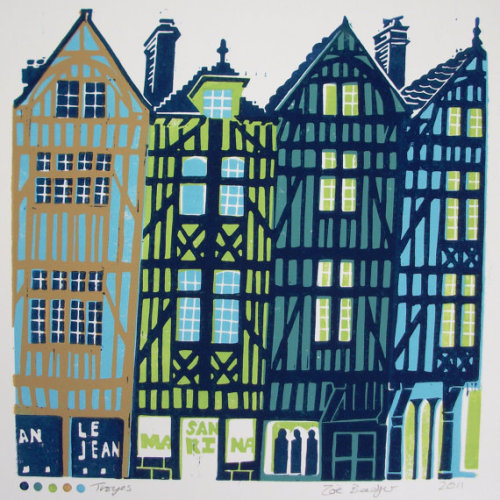 Troyes linocut (via Zebedeeprint on Etsy) this reminds me of where i lived in germany and where i live now, in québec city, all at once. love the colours.
