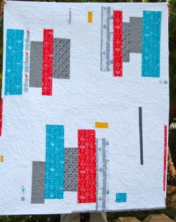moderndayquilts:  Minimal improv greatness. Wish Come True Quilt by Karen, an original design on her new blog.