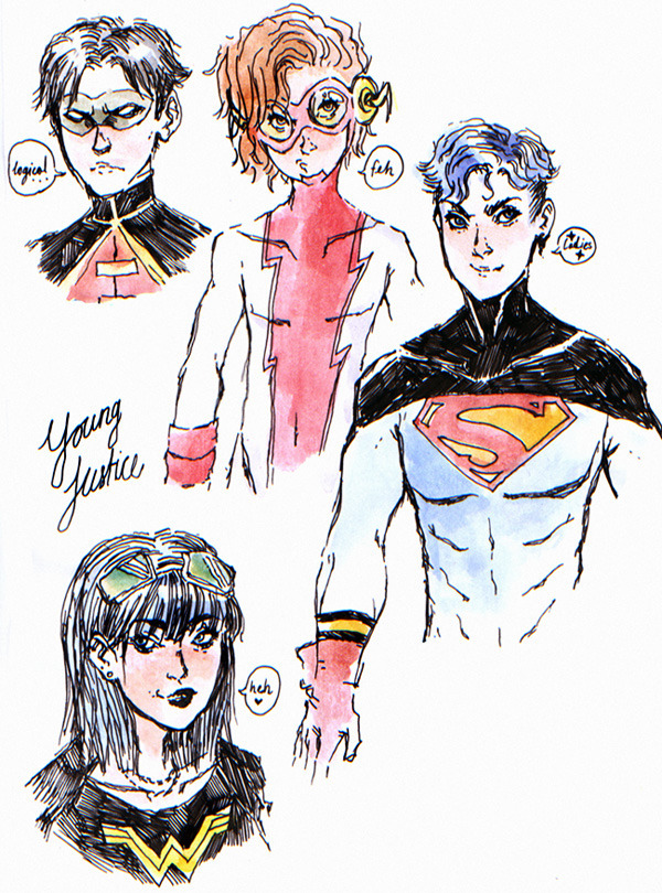 assguard:  rosevirus:  some Young Justice doodles, just in case these costumes are retconned out of existance by the new Teen Titans reboot  bart <3  never forget :'3c