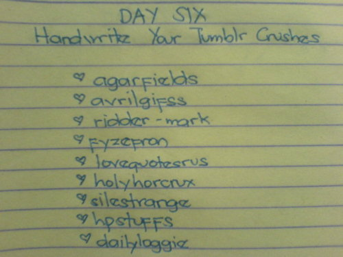 Handwriting Challenge  Day Six: Handwrite Your Tumblr Crushes
