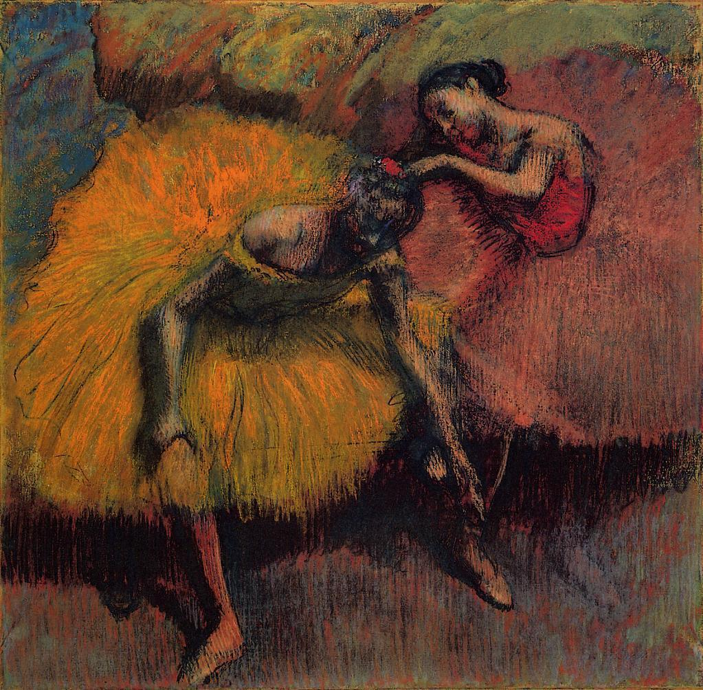 Edgar Degas, Two Dancers in Yellow and Pink, ca. 1900. Thank you, parkstepp & missfolly