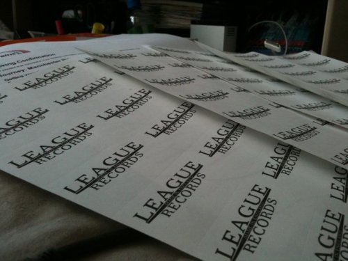 League Records Postage sticky labels :)