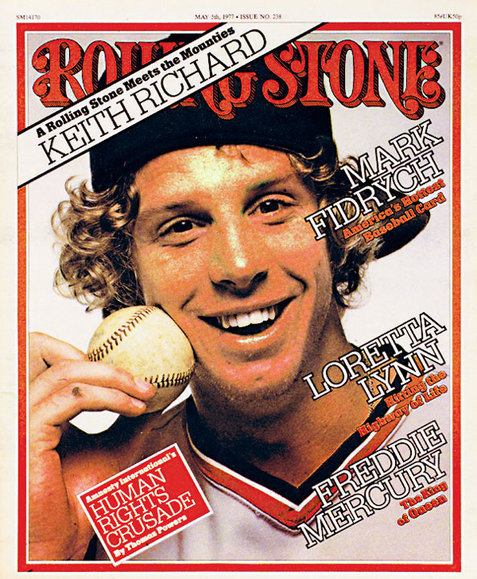 "pitchersandpoets:  Cover of the Rolling Stone. Rest in Power NB rolling stone appears to have spelled ""Keith Richards"" wrong on their cover?  I like thinking that all of those words are being used to describe Fidrych. Including the misspelling ""Keith Richard""."