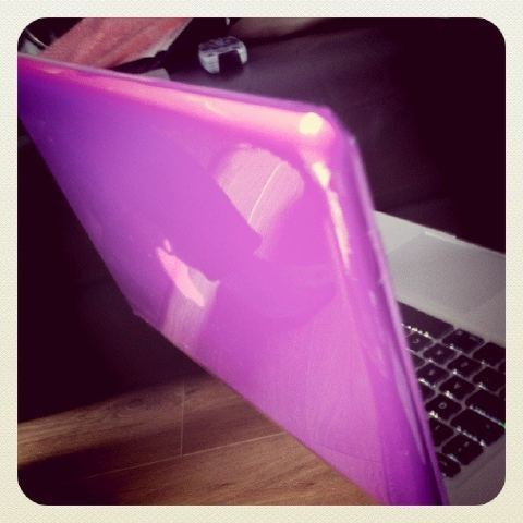 New Purple case for my Macbook Pro. I caved in and paid £25 because I couldn't find them any cheaper :( But it does look pretty and it completely protects the top and bottom of the laptop. Got my old MacBook Pro back as well, the shop had had a delivery literally as we walked through the door so it was really good timing. Chris is going to try to remove the hard drive so that I can connect it to my new one and transfer all my stuff; photos, videos etc. (Don't ask me how he's going to do it, I have no idea, he's like a computer nerd so…).