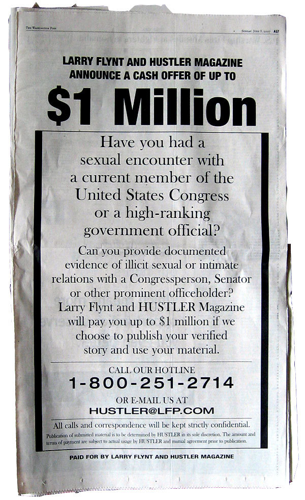 This full page ad ran in the Washington Post on Sunday Oct 14th 1998 during the super charged Bill Clinton impeachment saga… GOP congressman Bob Livingston, who was in line to become the next Speaker of the House was forced to resign… The guy busy impeaching Bill Clinton, had been unfaithful to his own wife. It was blatant, humiliating hypocrisy. - Rachel Maddow (Watch)The man who replaced Bob Livingston? Now, Sen. David Vitter. You can't make this stuff up.