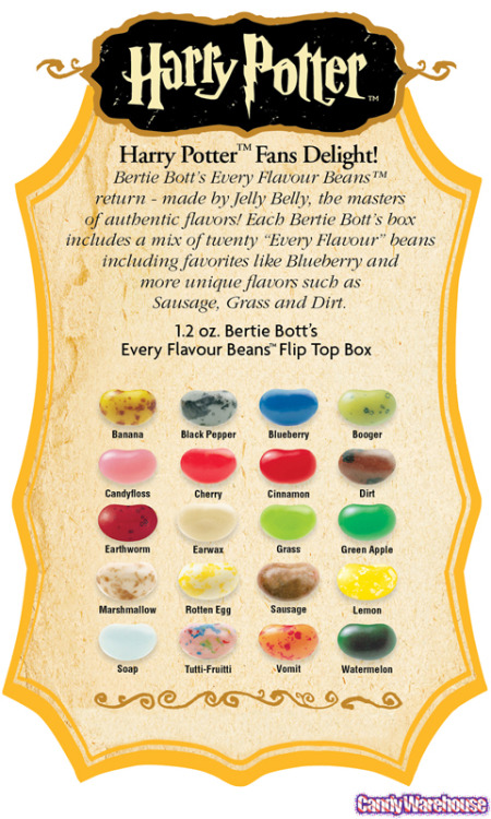 Bertie Bott's Every Flavor Beans guide Source: flickr/candywarehouse