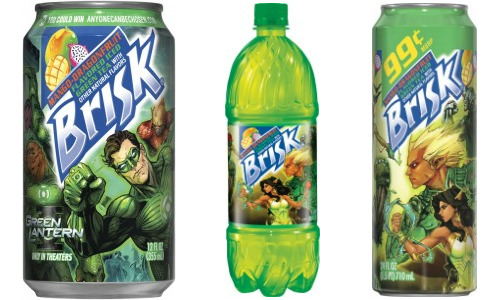 "Green Lantern x Brisk Iced Tea. Comic artist Kenneth Rocafort designed the art for the all-new Brisk Green Tea with Mango Dragonfruit. For a limited time, the art will feature The Green Lantern. After the promotional campaign is over, the cans will feature some fantasy comic inspired work, also by Rocafort. There's also a sweet little contest over at anyonecanbechosen.com where you can win a custom Green Lantern Xbox 360 and a chance to be a future Green Lantern production. Anyone taste this new flavor yet? It sounds like a million different flavors and it has the word ""dragon"" in it which leads me to believe it'll give me superpowers. (via Robot 6)"