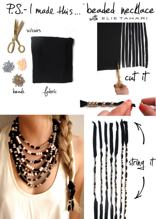 "Great look & great DIY. Love the hair tie to match. -Cory U missusd:  I'm loving this! ps-imadethis:  P.S.- Dive into DIY this summer!  The weather is hot, and your accessories should be too.  This seasons attire is ""Beach Chic"", so please dress accordingly.  Elie Tahari's SS2011 Collection boasted a stunning and breezy beach wrap, which was the inspiration for this DIY.  Whether you're beach-bound or bouncing around town, everyone needs a bevy of beaded necklaces. To create: reach for thin material/fabric, cut into long strips.  P.S.- the thinner, the better.  Cut strips, angling the top, pinch ends to thread beads through.  Classic pony beads are ideal and are available in a variety of colors.  Get creative with color combos and spacing to create a staggering look.  Make multiple strands for the ultimate summer statement necklace.  P.S.- JOIN ME THIS SATURDAY, JUNE 11 AT ELIE TAHARI TO DIY THESE NECKLACES AND MORE J'AMAZING ACCESSORIES!  RSVP@ELIETAHARI.COM"