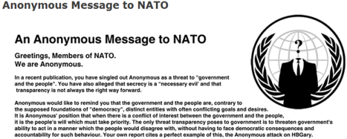 laughingsquid:  Anonymous Warns NATO Not To Challenge It  Nobody in the 80's would have taken this kind of science fiction very seriously.
