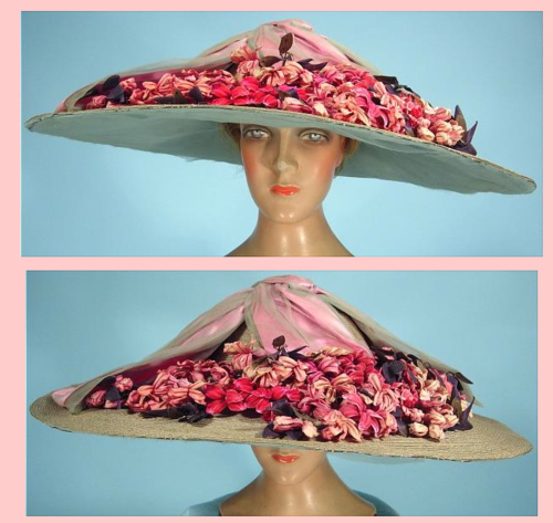 0_0 c. 1912H. SAGET, ParisGigantic Edwardian Straw Summer Hat
