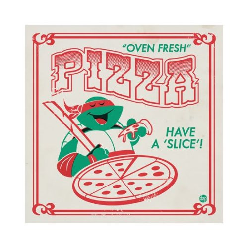 Great Teenage Mutant Ninja Turtles pizza box design by Dave Perillo.