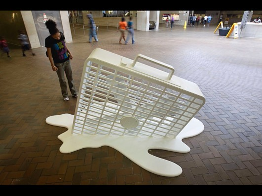 nightline:  Exactly. An art installation of a melting fan sits on display in a subway station, June 9, 2011, in Atlanta. Sweltering temperatures across half the country had people doing what they could to stay cool. (David Goldman/AP Photo) Today in Pictures.