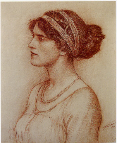 Waterhouse: Study for portrait of the Marchioness of Downshire by freeparking on Flickr.Waterhouse: Study for portrait of the Marchioness of Downshire Waterhouse. Red chalk. 1914. Was this ever painted? I can't find anything on it.