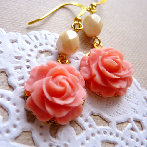 Pink Roses with Vintage Cream Lucite Melon Beads Earrings via Katheyl