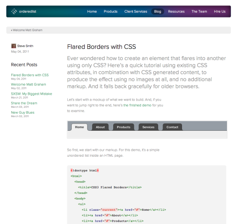 Flared borders with #css nice and clean.