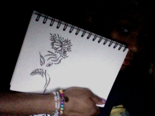 kelzthomas:  it started off as a lil bunch of flowers which u can see at the top… about 3 weeks ago… 2 day i randomly turned it into a cockerel